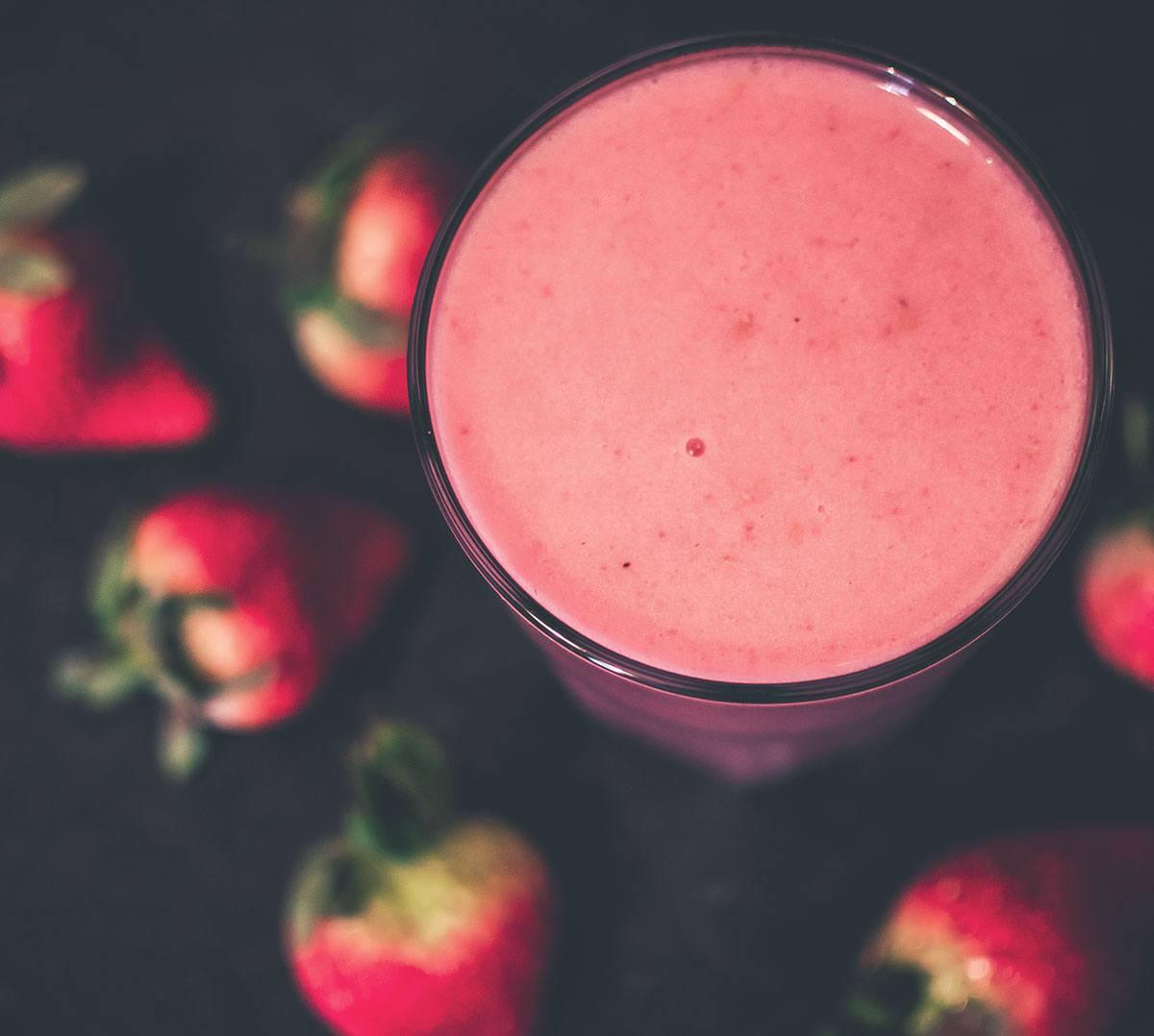 Bebida de maracujá e morango